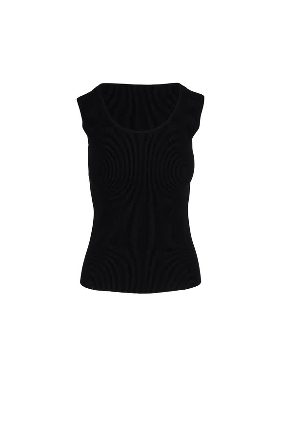 Akris Punto Black Ribbed Knit Cap Sleeve Top