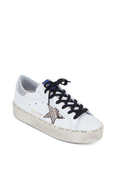 Golden Goose - Hi Star White & Natural Snakeskin Star Sneaker