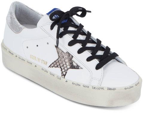 Golden Goose Hi Star White & Natural Snakeskin Star Sneaker