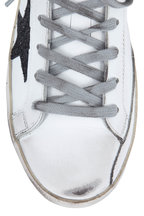 Golden Goose - Superstar White & Black Glitter Star Sneaker