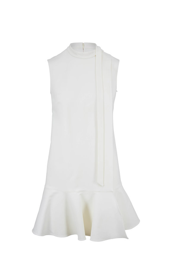 Valentino Ivory Crepe Couture Tie Neck Dress
