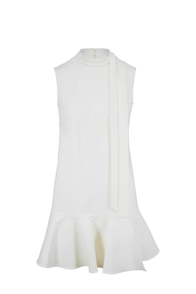 Valentino - Ivory Crepe Couture Tie Neck Dress