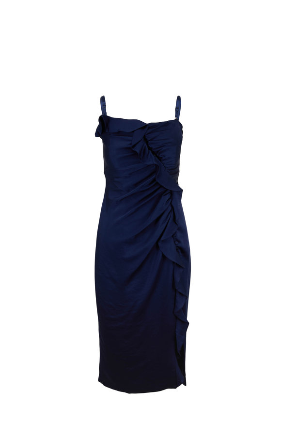 Jonathan Simkhai Midnight Sateen Ruffled Bustier Sleeveless Dress