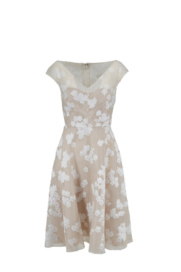 Lela Rose Ivory Floral Cap-Sleeve Full Skirt Dress