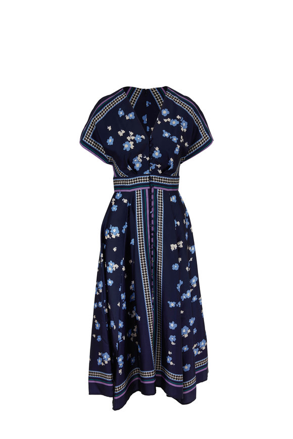 Lela Rose Navy Multi V-Neck Button Front Midi Dress