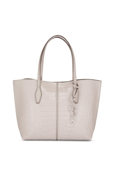 Tod's - Bauletto Gray Glossy Embossed Leather Small Tote