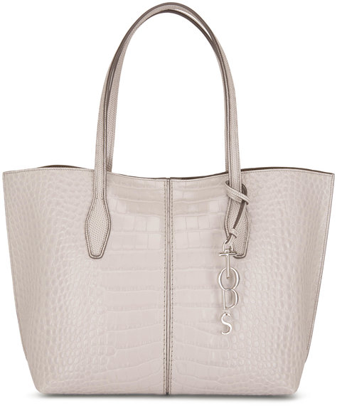 Tod's Bauletto Gray Glossy Embossed Leather Small Tote