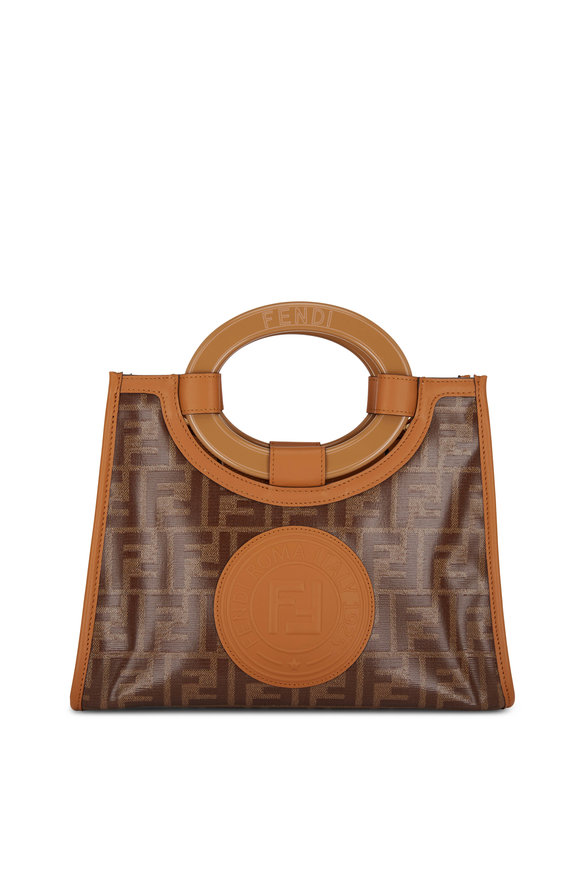Fendi Runaway Glazed Logo Canvas Tote