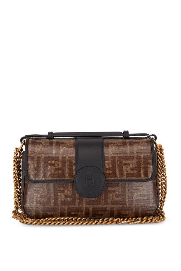 Fendi Double F Black Leather & Embossed Logo Chain Bag