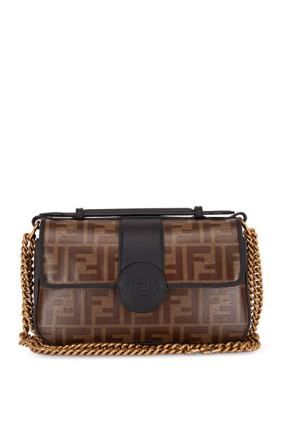 Fendi - Double F Black Leather & Embossed Logo Chain Bag