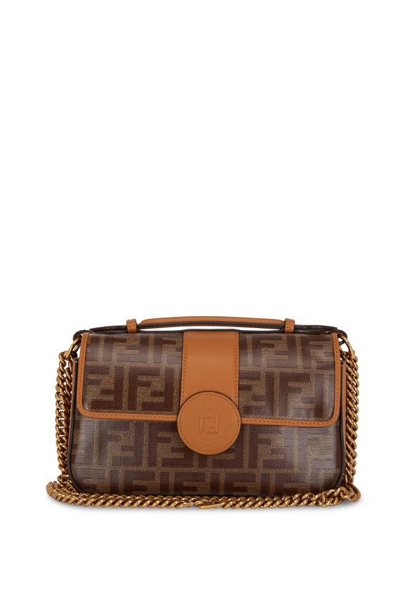 Fendi Tan Coated Canvas & Leather Double F Small Bag