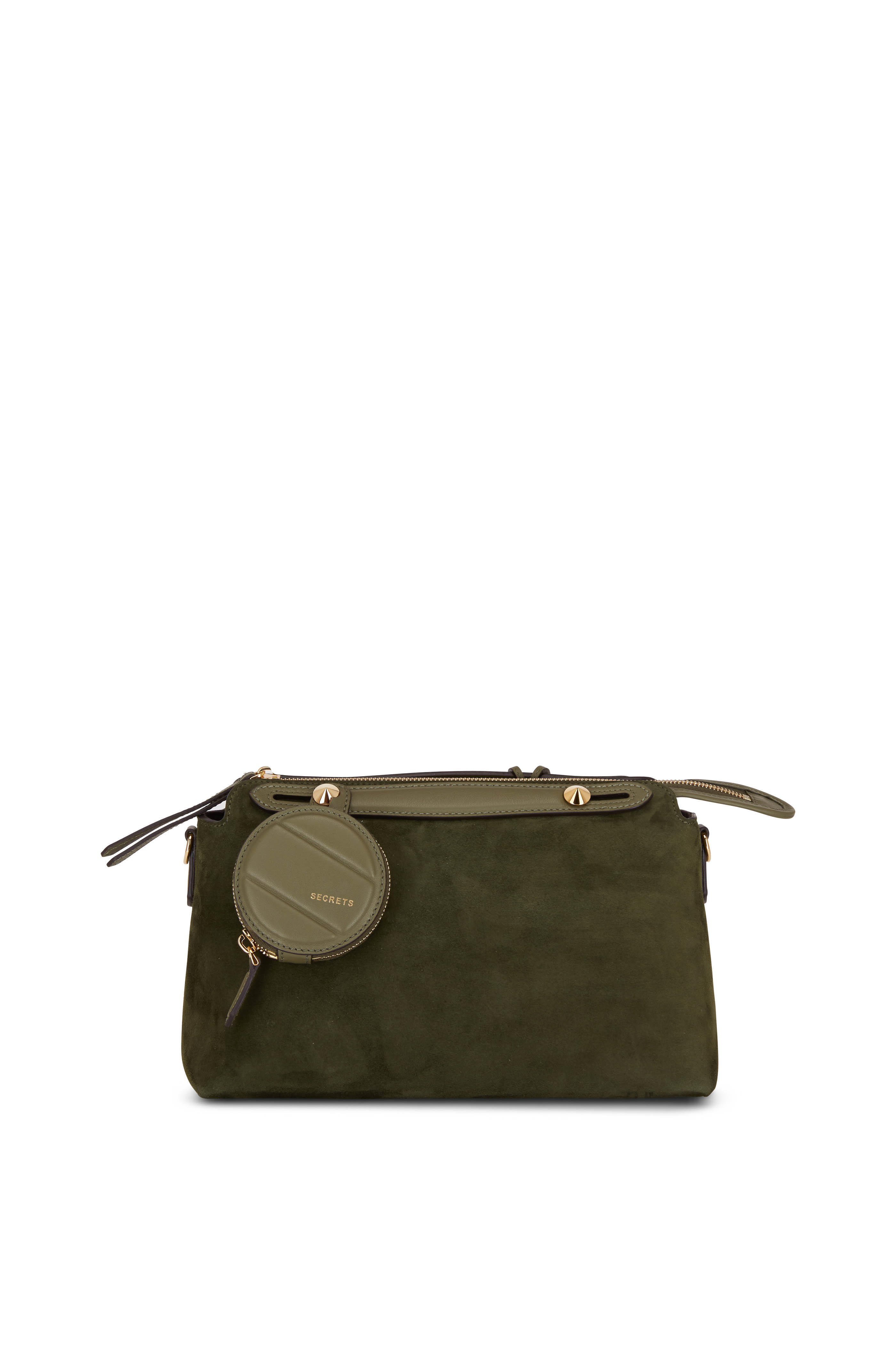 2d61fe8ad1 Fendi - By The Way Green Suede Medium Boston Bag | Mitchell Stores
