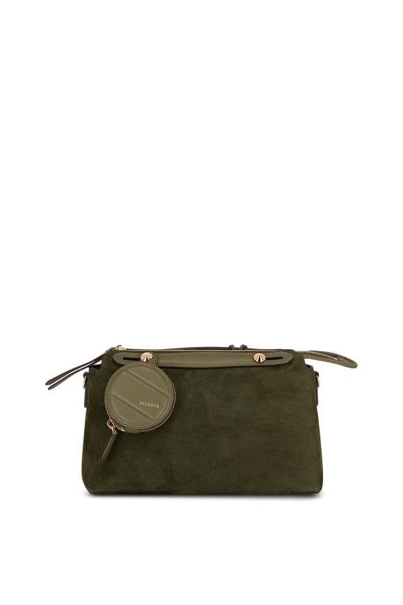 Fendi By The Way Green Suede Medium Boston Bag