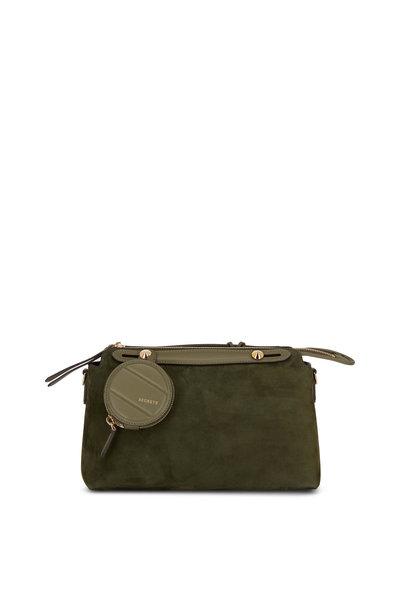 Fendi - By The Way Green Suede Medium Boston Bag