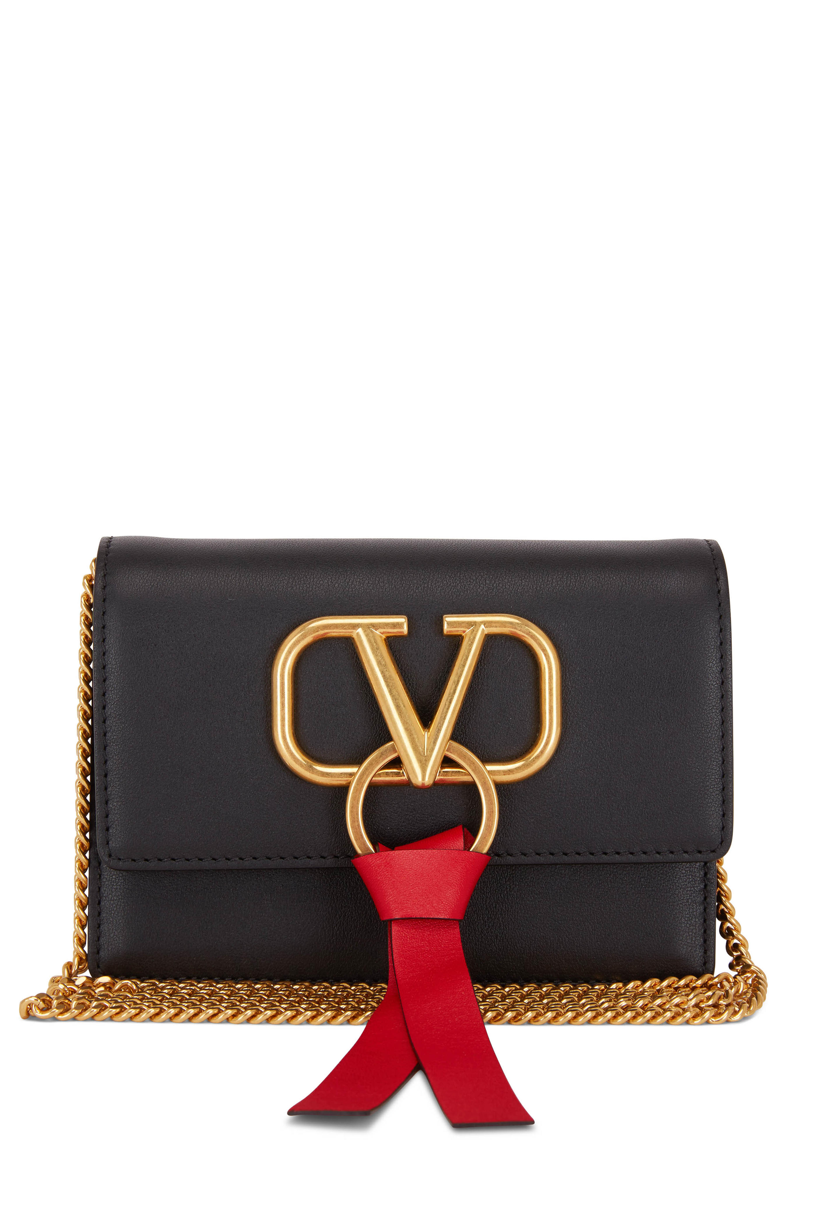 83e3fb062642b Valentino Garavani - VRing Black & Red Leather Mini Chain Crossbody ...