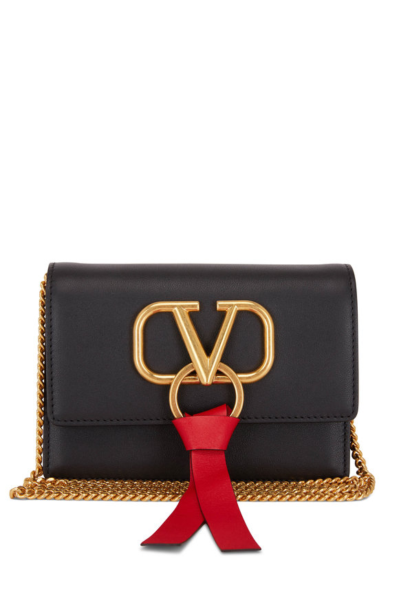 VRing Black & Red Leather Mini Chain Crossbody