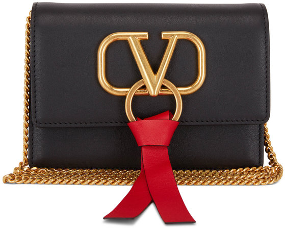 Valentino Garavani VRing Black & Red Leather Mini Chain Crossbody