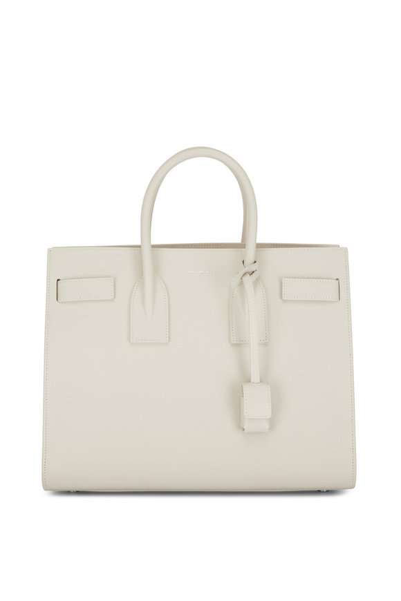 Saint Laurent Sac De Jour Bowen Blanc Leather Small Tote