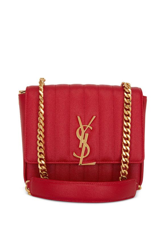 Saint Laurent Vicky Vintage Red Matelassé Medium Crossbody