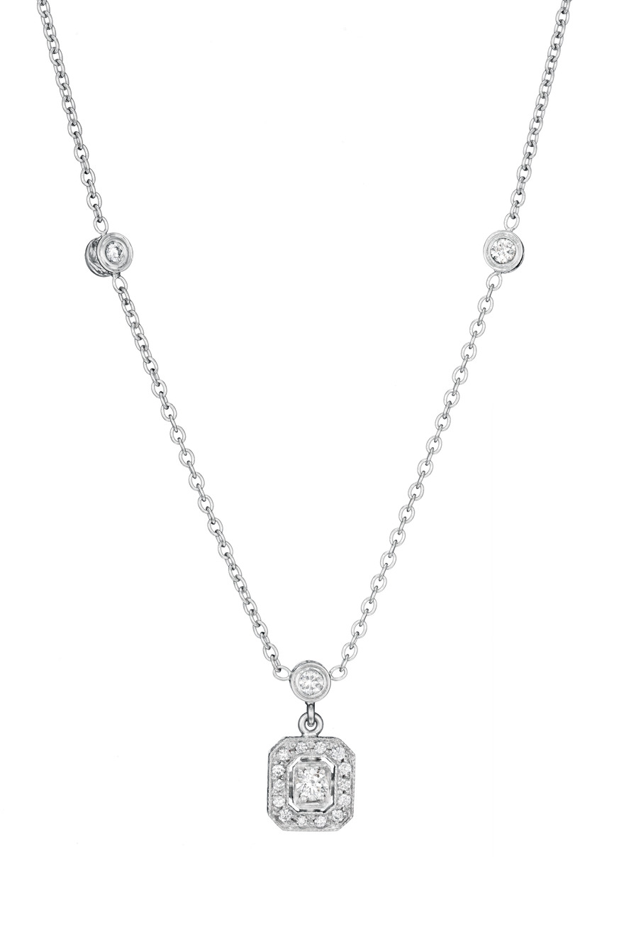 White Gold Bezel Diamond Necklace