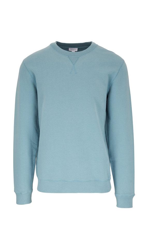 Sunspel Aqua Crewneck Sweatshirt