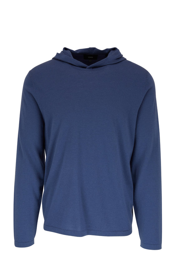 Vince Spruce Blue Wool & Cashmere Hoodie