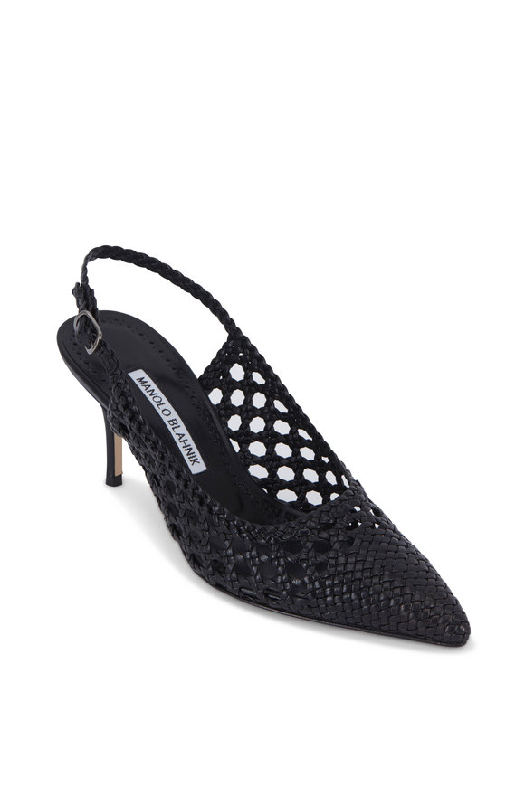 Manolo Blahnik Baskewusli Black Woven Leather Slingback, 70mm