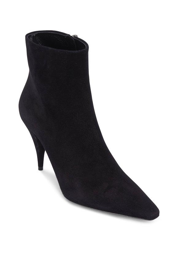 Saint Laurent Kiki Black Suede Cone Heel Bootie, 85mm