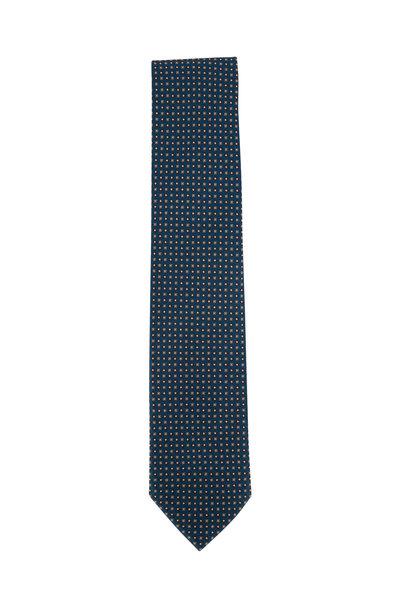 Brioni - Teal Geometric Silk Necktie