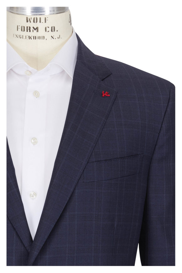 Isaia Navy Wool Plaid Suit