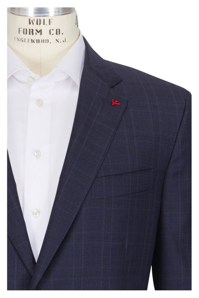 Isaia - Navy Wool Plaid Suit