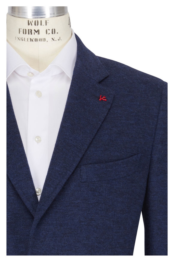Isaia Blue Double Knit Jersey Sportcoat
