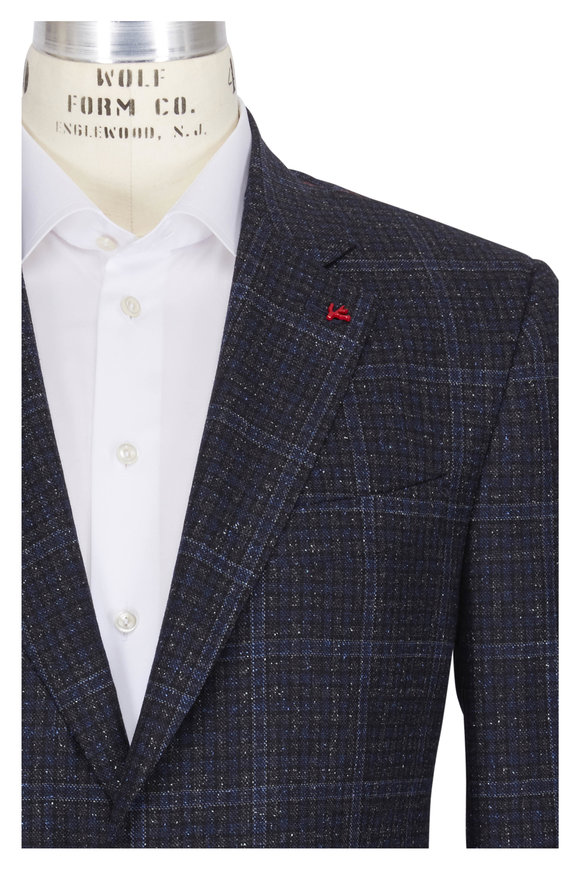 Isaia Navy Wool Donegal Check Sportcoat