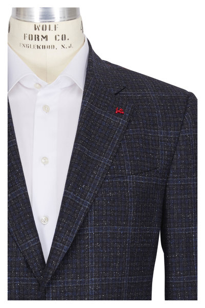 Isaia - Navy Wool Donegal Check Sportcoat