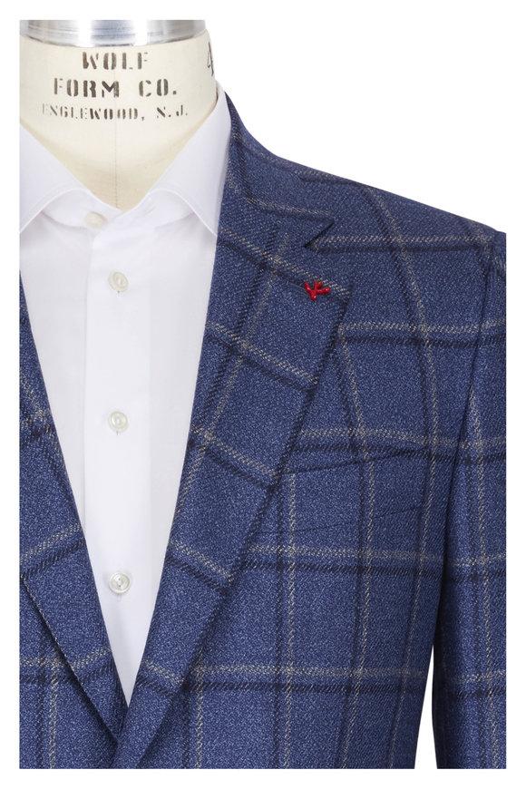 Isaia Blue, Navy & Gray Windowpane Wool & Silk Sportcoat