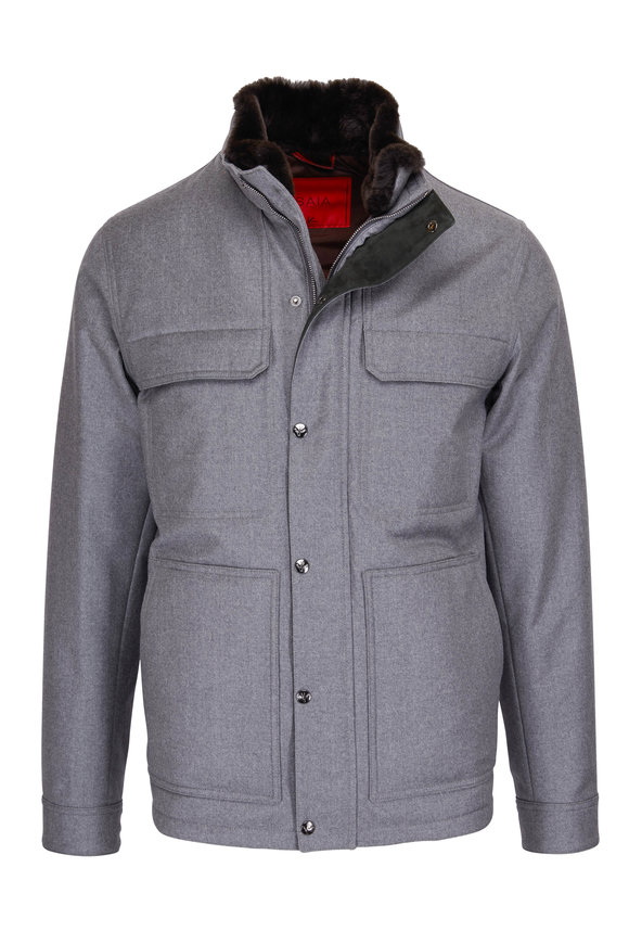 Isaia Gray Wool Fur Trim Jacket