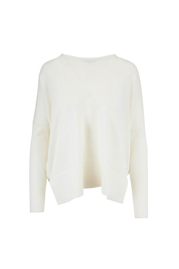 Akris Punto Cream Wool Knit Dropped Shoulder Sweater
