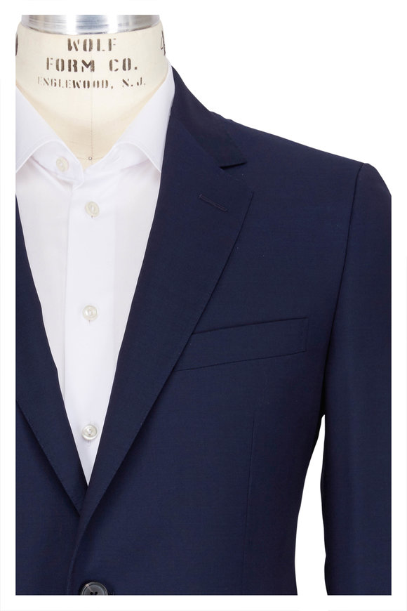 Lanvin Attitude Solid Blue Wool Suit