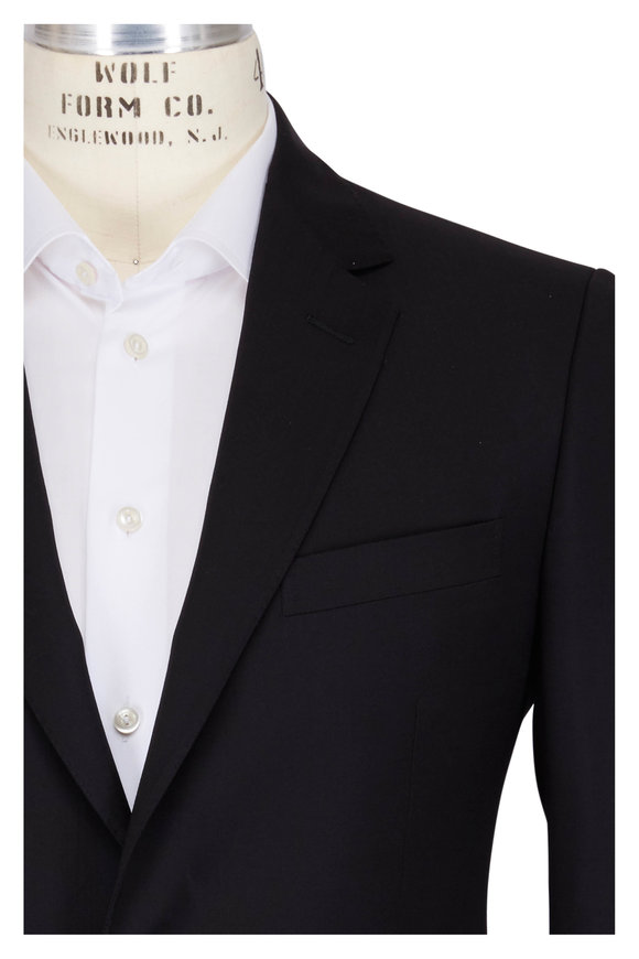 Lanvin Attitude Solid Black Wool Suit