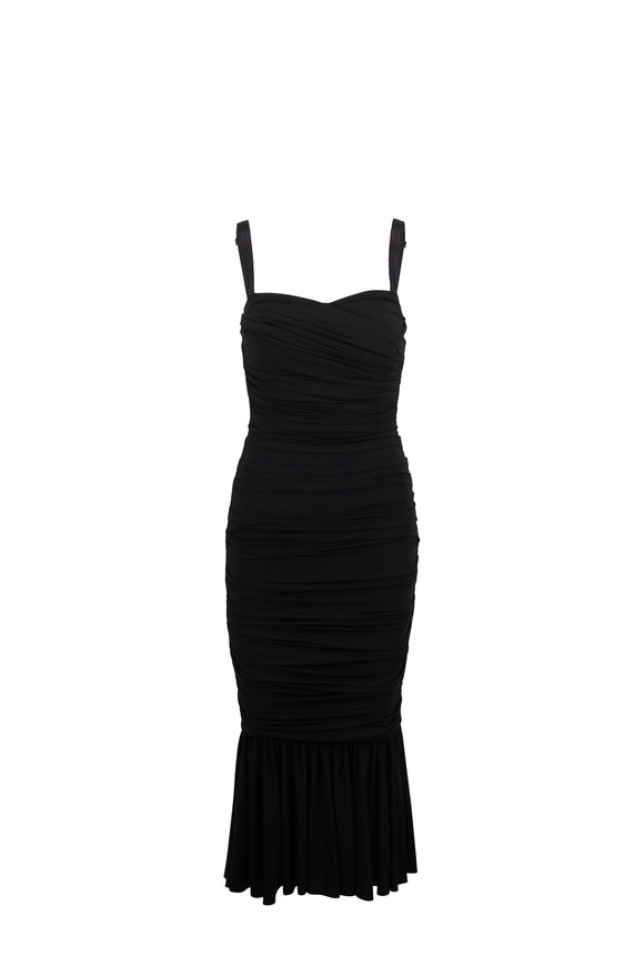 Dolce & Gabbana Black Ruched Sweetheart Neck Sleeveless Dress