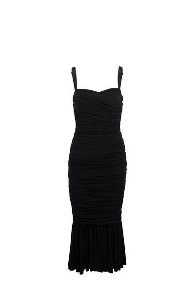Dolce & Gabbana - Black Ruched Sweetheart Neck Sleeveless Dress