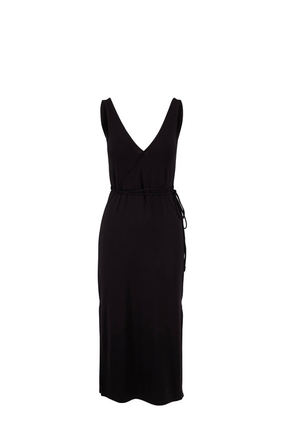 Vince Black Stretch V-Neck Sleeveless Wrap Dress