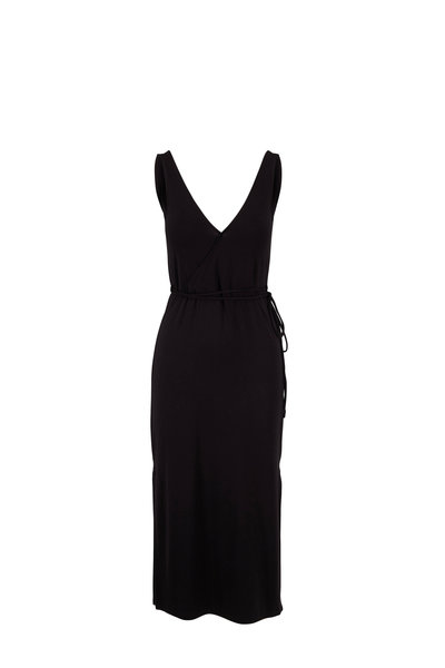 Vince - Black Stretch V-Neck Sleeveless Wrap Dress