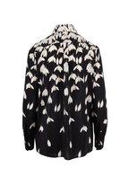 Valentino - Black & Ivory Silk Snowdrop Flower Print Blouse