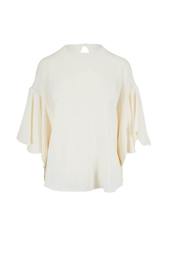 Valentino Ivory Silk Ruffle Sleeve Top