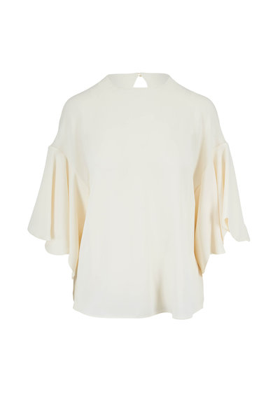 Valentino - Ivory Silk Ruffle Sleeve Top
