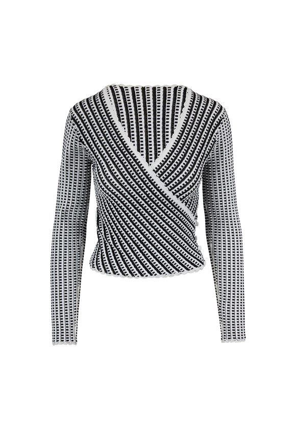Jonathan Simkhai Black & White Knit Wrap Effect Top