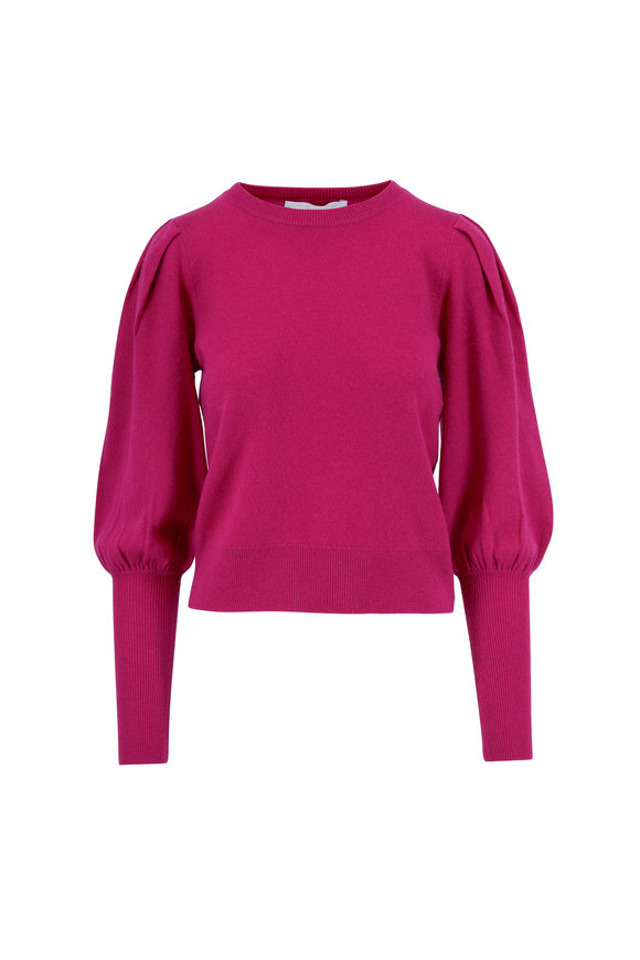 Jonathan Simkhai Fuchsia Cashmere Gathered Sleeve Sweater