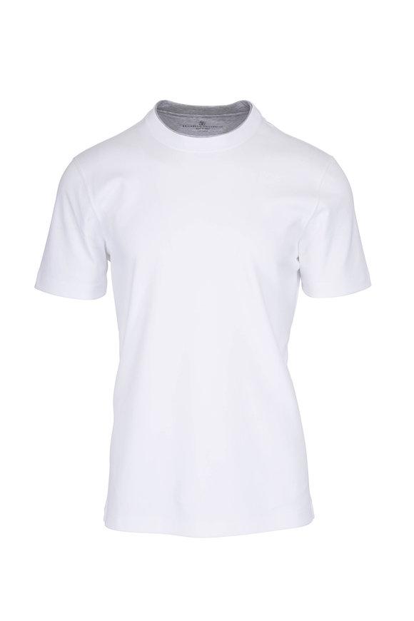 Brunello Cucinelli White Cotton Gray Collar Slim T-Shirt