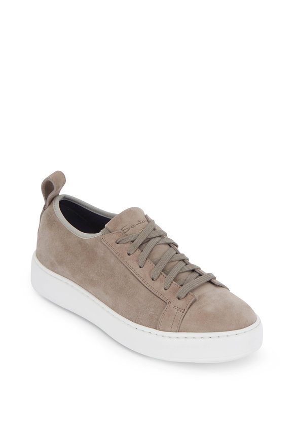 Santoni Donna Taupe Suede Soft Lace-Up Sneaker